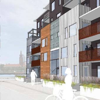 a-sidan arkitekt arkitektkontor Uppsala nybyggnad flerbostadshus Västerås Lillåudden brf bostadsrättsförening Riksbyggen nyproduktion hem hamn sjöutsikt tävling vinst